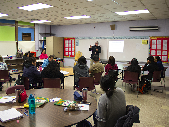 classroom of adult ELL students