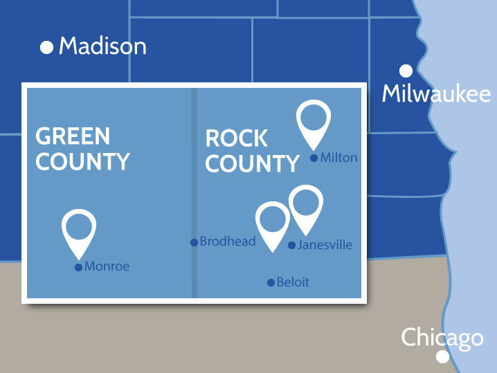 Map of Rock and Green Counties