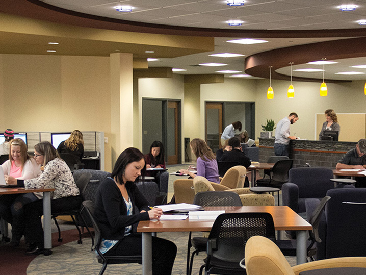Student Success Center with students studying