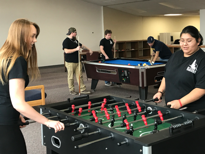 students playing billiards in the Student Union