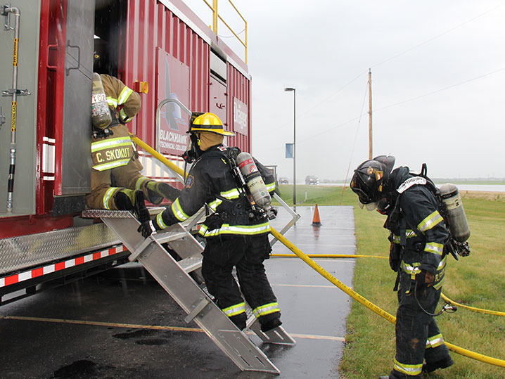 firefighter students training outside